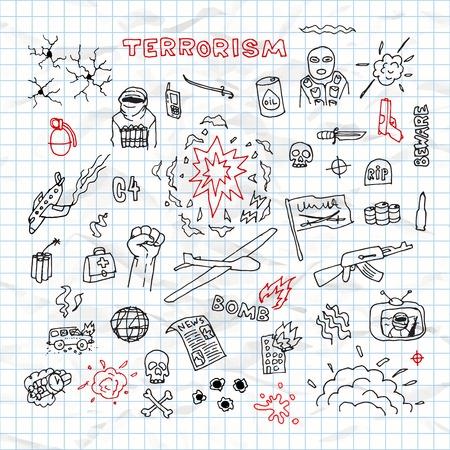 terrorism: Hand Drawn terrorism doodles on crumpled paper vector