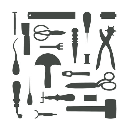 awl: Gray tools silhouettes isolated on white background