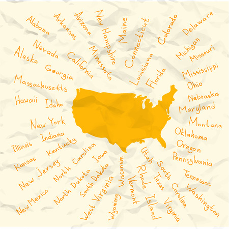 carolina: Hand drawn USA map with handwritten state names Illustration