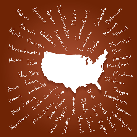 names: Hand drawn USA map with handwritten state names Illustration