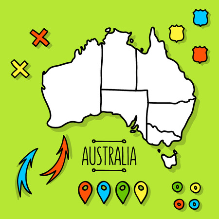 map pins: Hand drawn travel map illustration. Perfect for blog and print