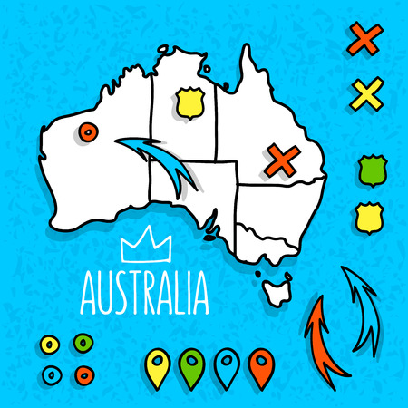 melbourne: Hand drawn travel map illustration. Perfect for blog and print