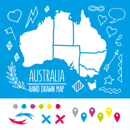 australia map: Hand drawn travel map illustration. Perfect for blog and print