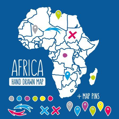 mundo manos: Dibujado a mano mapa de la ilustración. Perfecto para el blog y de impresión