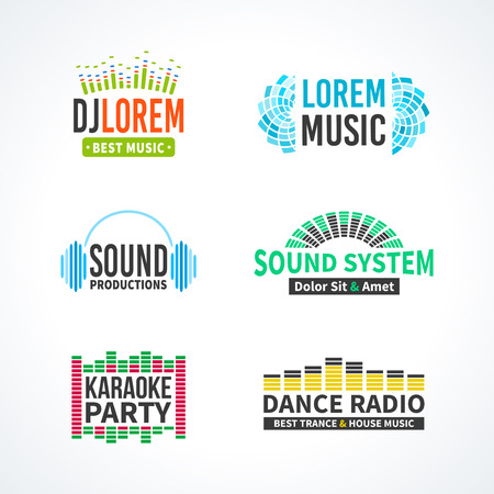 dj: Fourth music equalizer emblem elements set separated Illustration