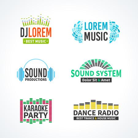 Fourth music equalizer emblem elements set separated Illustration