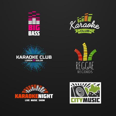Fifth set music equalizer emblem vector on dark background.