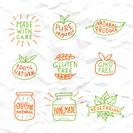set free: Set of hand drawn natural badges and labels design vector illustration