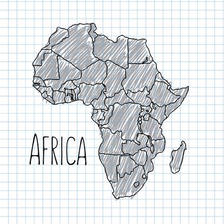 Pen dessiné à la main l'Afrique de carte vectorielle illustration sur papier Banque d'images - 38962958