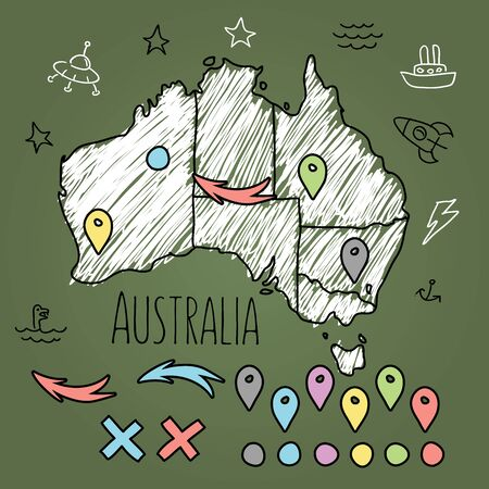 Doodle Australia map on green chalkboard with pins and extras vector illustration.