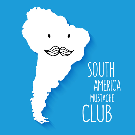 south america map: Fun hand drawn mustache club cartoon South America map vector illustration background. Illustration