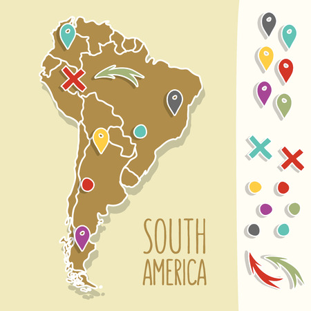 south america map: Vintage Hand drawn South America travel map with pins vector illustration.