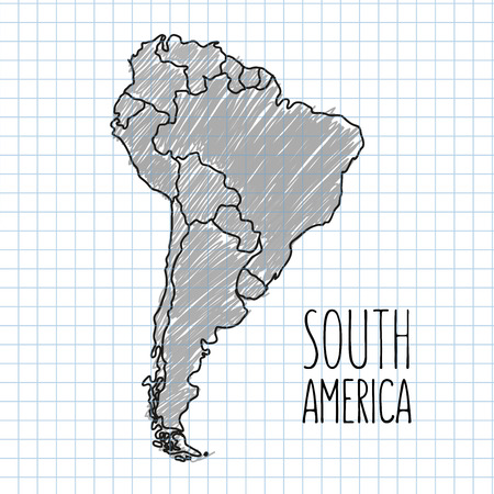 south america map: Vector grey pen hand drawn South America map on paper illustration. Illustration
