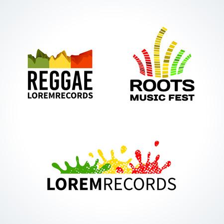 reggae: Ensemble des racines de la musique reggae �galiseur �l�ments vectoriels ic�ne embl�me Illustration