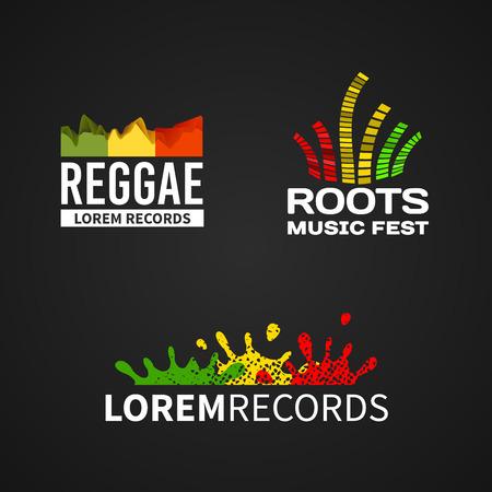 reggae: Ensemble de musique reggae roots �galiseur vecteur ic�ne embl�me sur fond sombre Illustration