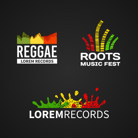 Set of reggae roots music equalizer icon emblem vector on dark background Vector