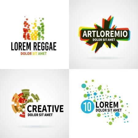 Set of modern color abstract emblem vector design elements Illustration