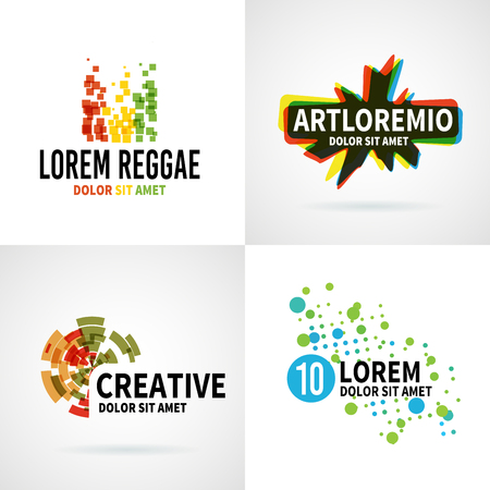 Set of modern color abstract emblem vector design elements Ilustração