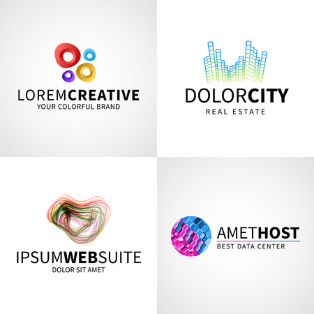 web host: Set of modern colorful abstract creative web host data  emblem vector design elements.