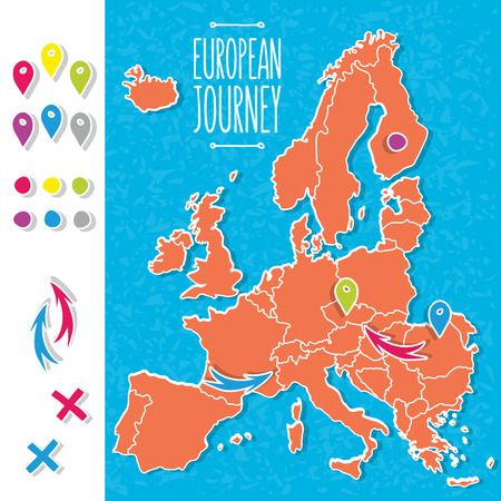 bosnia: Cartoon style hand drawn journey map of europe with pins vector  illustration