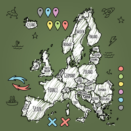 Doodle Europe map on green chalkboard with pins and extras vector  illustration
