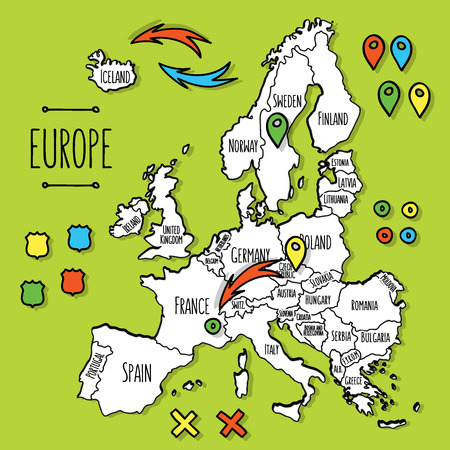 europe vintage: Cartoon style hand drawn travel map of Europe with pins vector  illustration