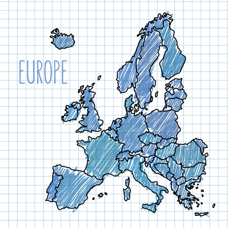 Pen hand drawn Europe map vector on paper  illustration