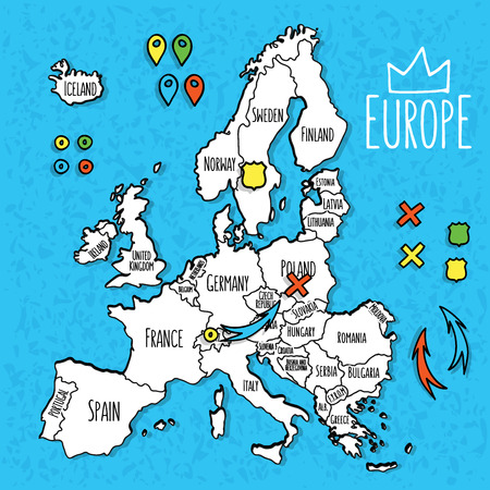 romania: Cartoon style hand drawn travel map of Europe with pins vector  illustration