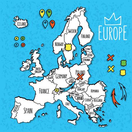 mapa de europa: Estilo de dibujos animados mano mapa de la hilada de Europa con la ilustración vectorial pines