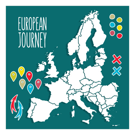 europe vintage: Vintage Hand drawn Europe travel map with pins vector  illustration