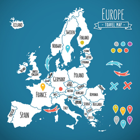 Hand drawn Europe travel map with pins vector  illustration Vectores
