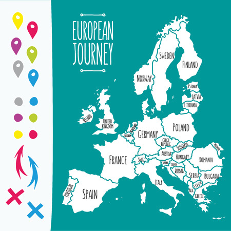 travel map: Vintage Hand drawn Europe travel map with pins vector  illustration