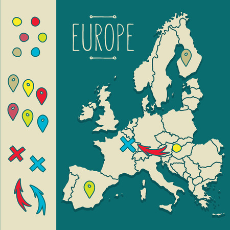 bosnia: Vintage Hand drawn Europe travel map with pins vector  illustration