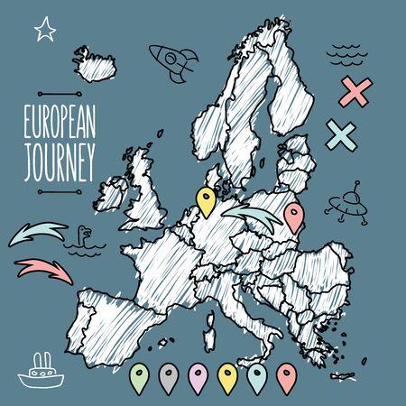 deutschland karte: Doodle Europa Karte auf navy Tafel mit Stiften und Extras Vektor-Illustration