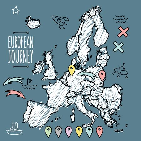 geography of europe: Doodle Europe map on navy chalkboard with pins and extras vector  illustration