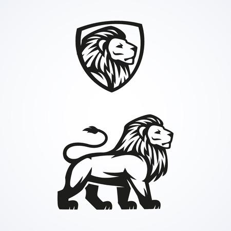 the lions: Le�n mascota logotipo del deporte emblema de dise�o vectorial ilustraci�n