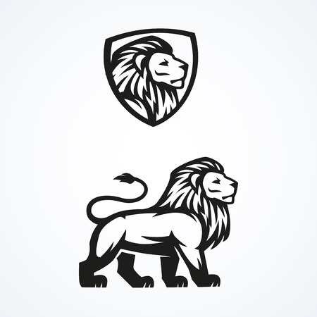 Lion mascotte sport logo emblème vecteur illustration de conception Banque d'images - 40220873