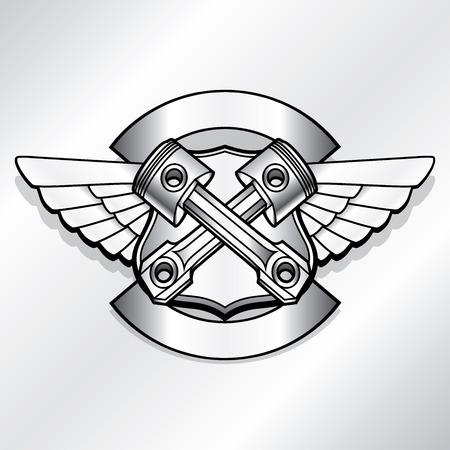 Vecteur motard logo illustration. Club pistons du moteur étiquettes en acier millésime. Racer insignes