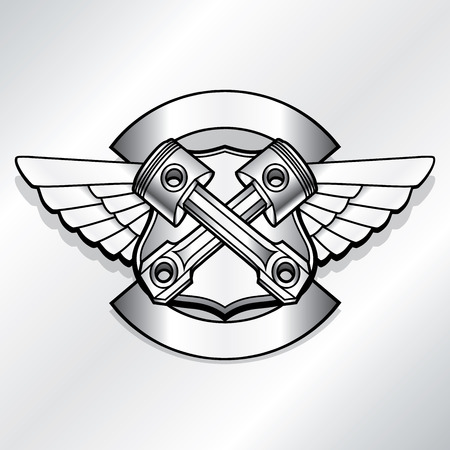 engines: Vector biker logo illustration. Motor club piston vintage steel labels. Racer insignia Illustration