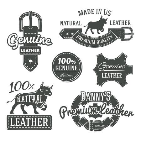 Conjunto de diseños de logotipo de correa de cuero vintage vector, etiquetas de calidad retro. ilustración de cuero genuino
