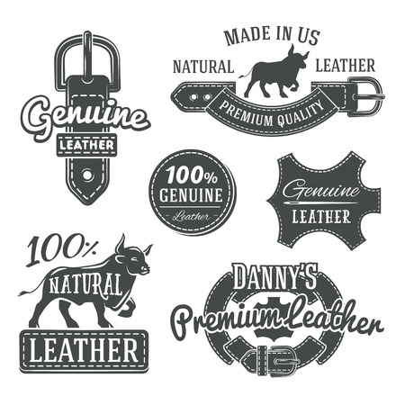 leather: Set of vector vintage leather belt logo designs, retro quality labels. genuine leather illustration Illustration