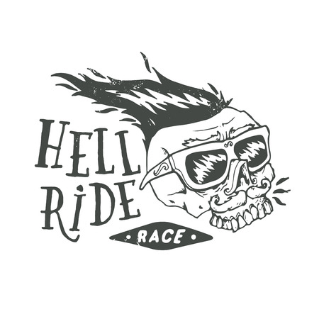 Hell ride race lettering. Mustached biker scull vintage print. Textured monochrome retro vector illustration.