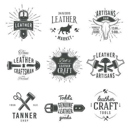 leather: Second set of grey vector vintage craftsman logo designs, retro genuine leather tool labels. artisan craft market insignia illustration.