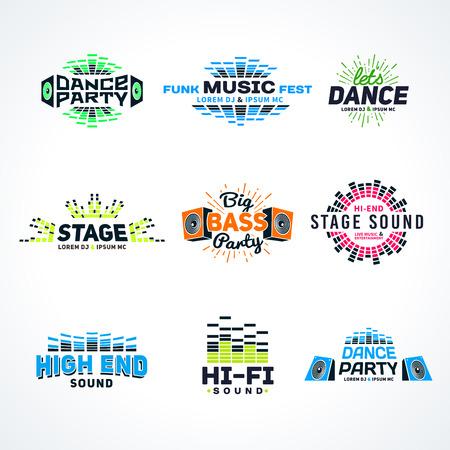 музыка: Шестой набор музыка эквалайзер эмблема вектор на светлом фоне. Современный красочный логотип коллекции. Звуковая система иллюстрации.