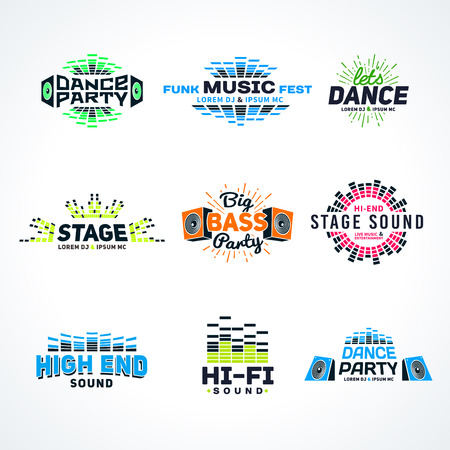disco symbol: Sixth set music equalizer emblem vector on light background. Modern colorful logo collection. Sound system illustration.