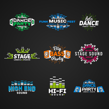 party dj: Sexto música vector conjunto ecualizador emblema sobre fondo oscuro. Colección colorido logotipo moderno. Ilustración del sistema de sonido. Vectores