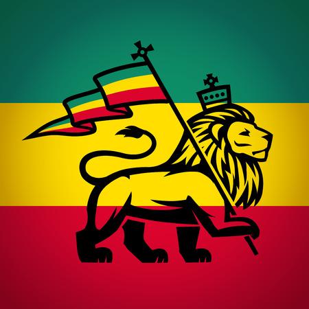 reggae: Juda lion avec un drapeau rastafari. Roi de Sion logo illustration. Reggae conception de vecteur de musique.