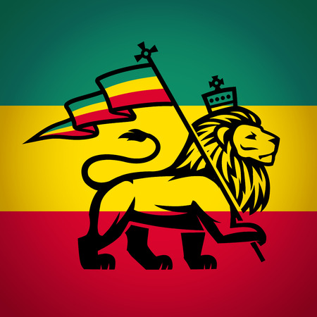 haile: Judah lion with a rastafari flag. King of Zion logo illustration. Reggae music vector design.
