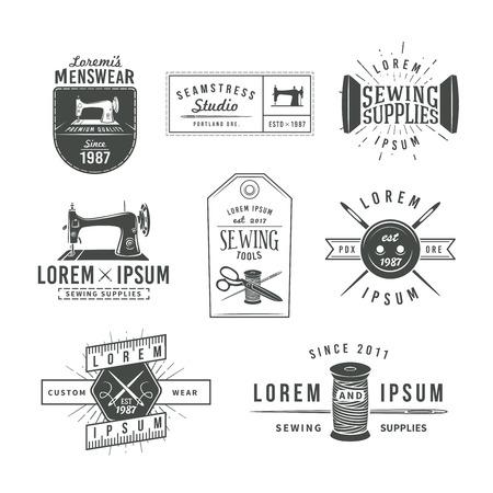 maquinas de coser: Conjunto de etiquetas personalizadas vintage, emblemas y elementos de dise�o. Adaptar vector tienda. ilustraci�n Stodio coser. Vectores