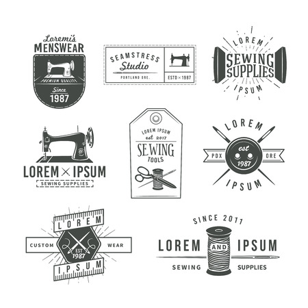 machine shop: Set of vintage tailor labels, emblems and design elements. Tailor shop  vector. sewing stodio illustration.